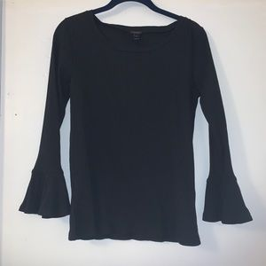 ribbed bell sleeve top- womens knit